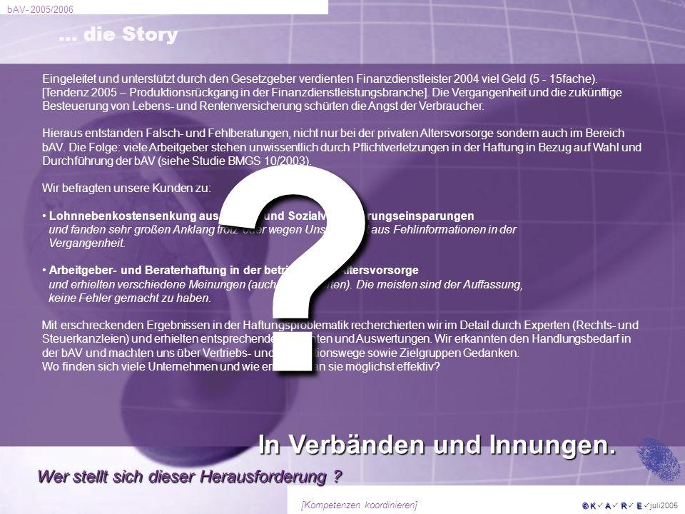 In Verbänden und Innungen. … die Story