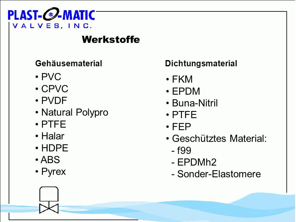 • Geschütztes Material: - f99 - EPDMh2 - Sonder-Elastomere