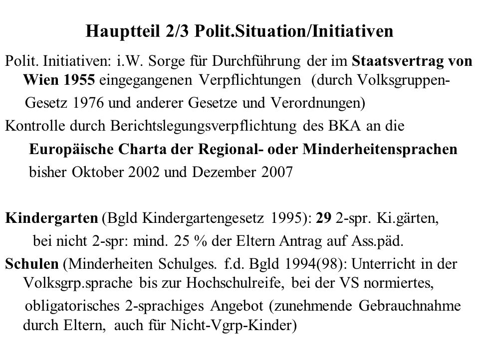 Hauptteil 2/3 Polit.Situation/Initiativen