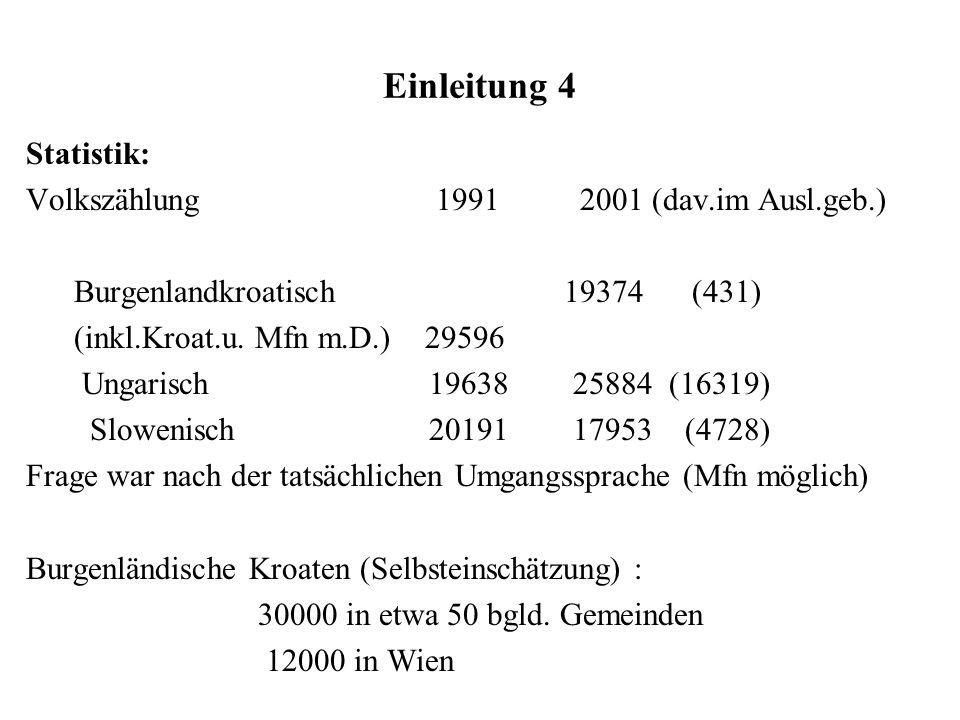 Einleitung 4 Statistik: Volkszählung 1991 2001 (dav.im Ausl.geb.)