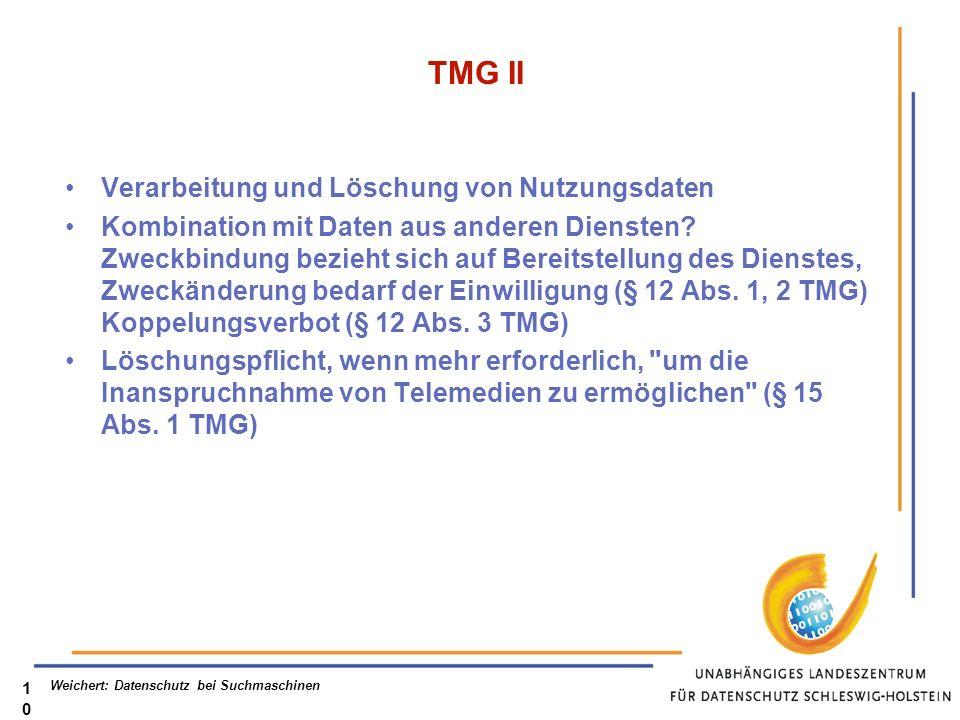 TMG II Verarbeitung und Löschung von Nutzungsdaten