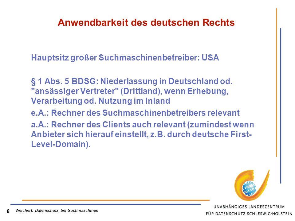 Anwendbarkeit des deutschen Rechts