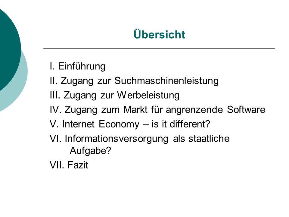 Übersicht I. Einführung II. Zugang zur Suchmaschinenleistung