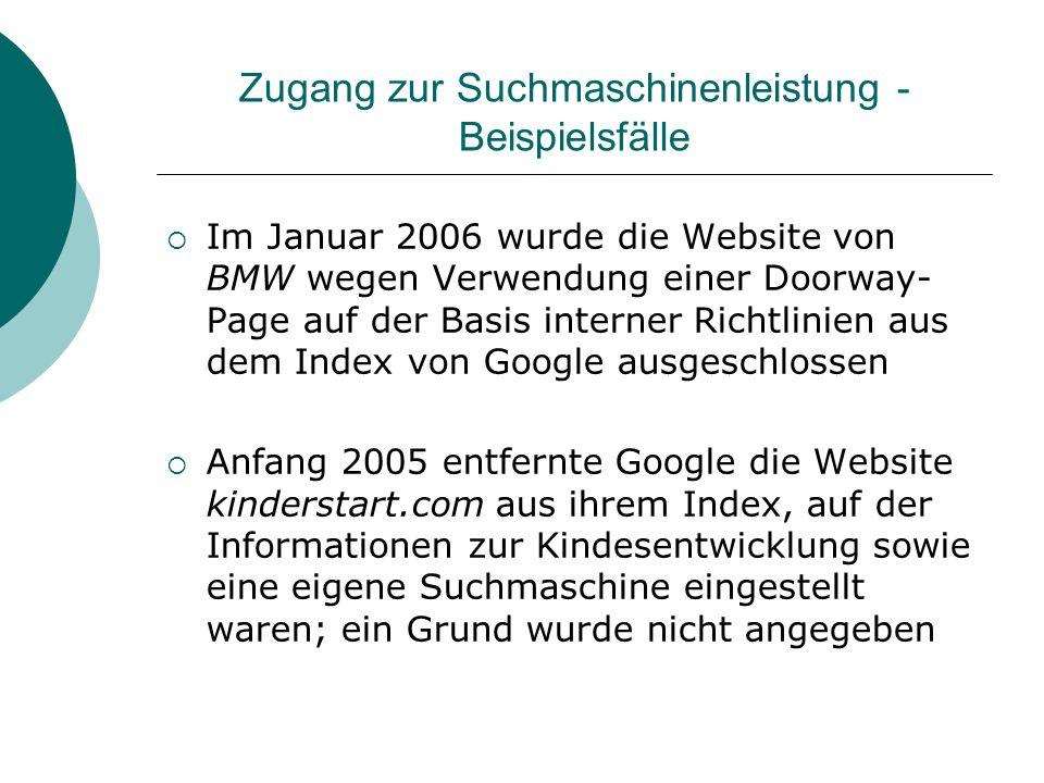 Zugang zur Suchmaschinenleistung - Beispielsfälle