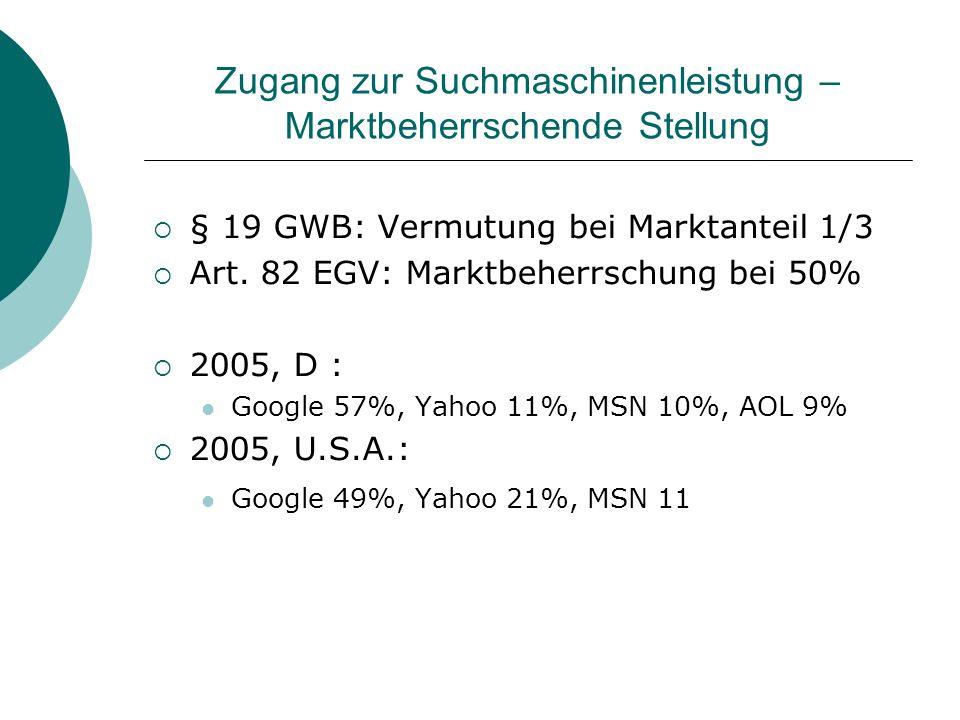 Zugang zur Suchmaschinenleistung – Marktbeherrschende Stellung