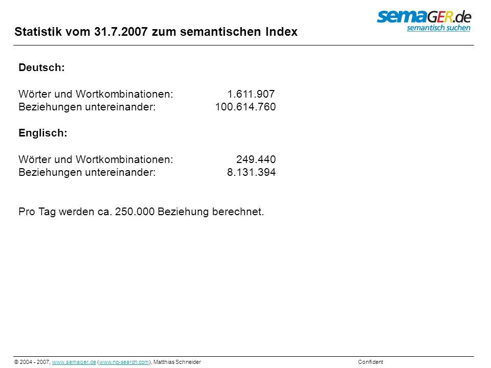 Statistik vom 31.7.2007 zum semantischen Index