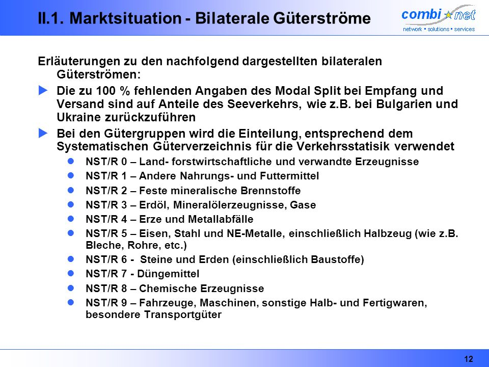 II.1. Marktsituation - Bilaterale Güterströme