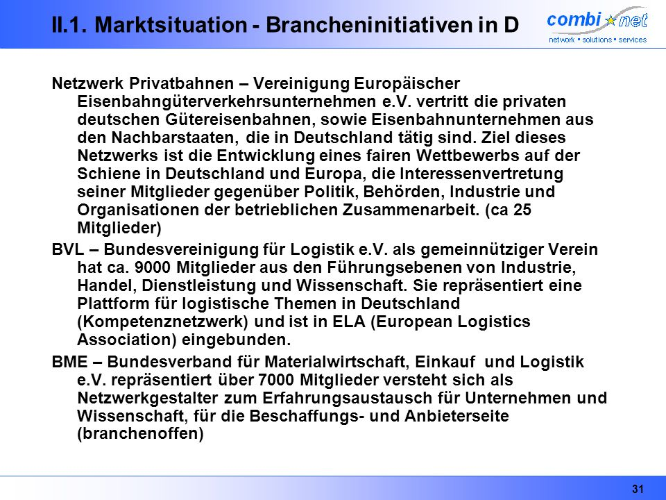 II.1. Marktsituation - Brancheninitiativen in D