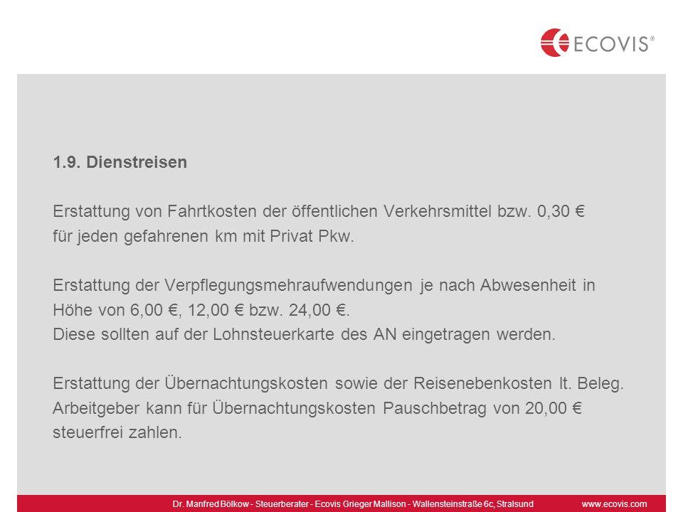 Erstattung von Fahrtkosten der öffentlichen Verkehrsmittel bzw. 0,30 €