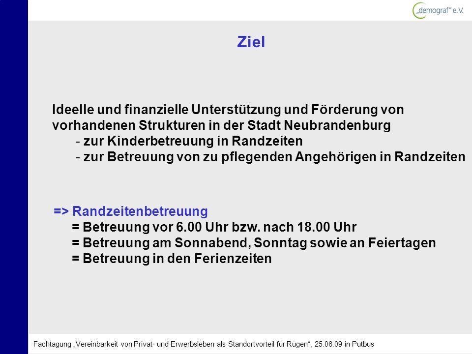 ZielIdeelle und finanzielle Unterstützung und Förderung von vorhandenen Strukturen in der Stadt Neubrandenburg.