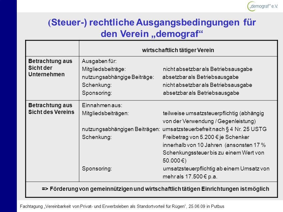 """(Steuer-) rechtliche Ausgangsbedingungen für den Verein """"demograf"""