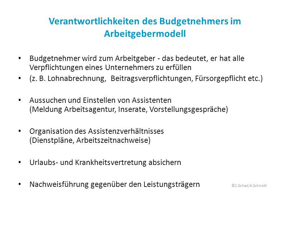 Verantwortlichkeiten des Budgetnehmers im Arbeitgebermodell