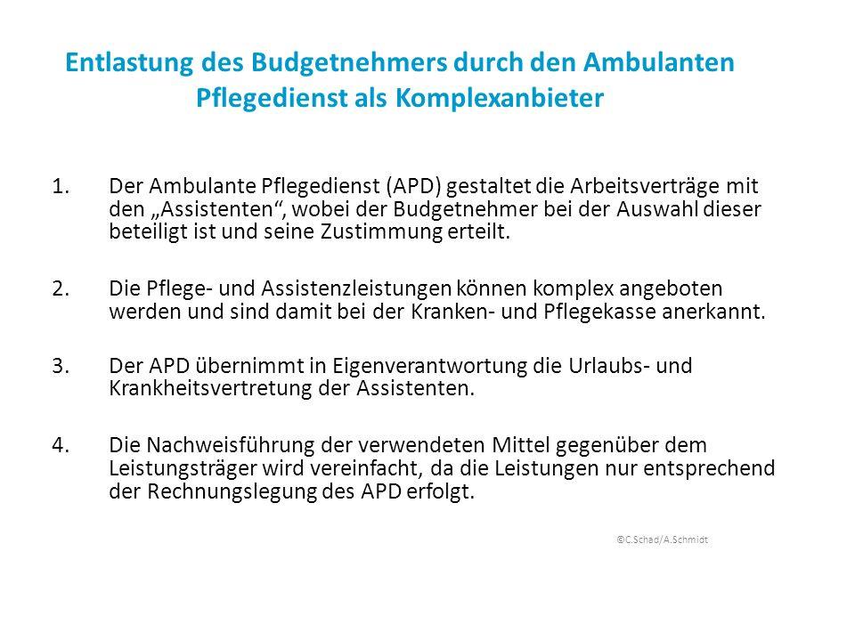 Entlastung des Budgetnehmers durch den Ambulanten Pflegedienst als Komplexanbieter