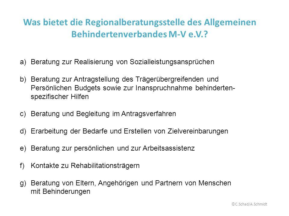 Was bietet die Regionalberatungsstelle des Allgemeinen Behindertenverbandes M-V e.V.