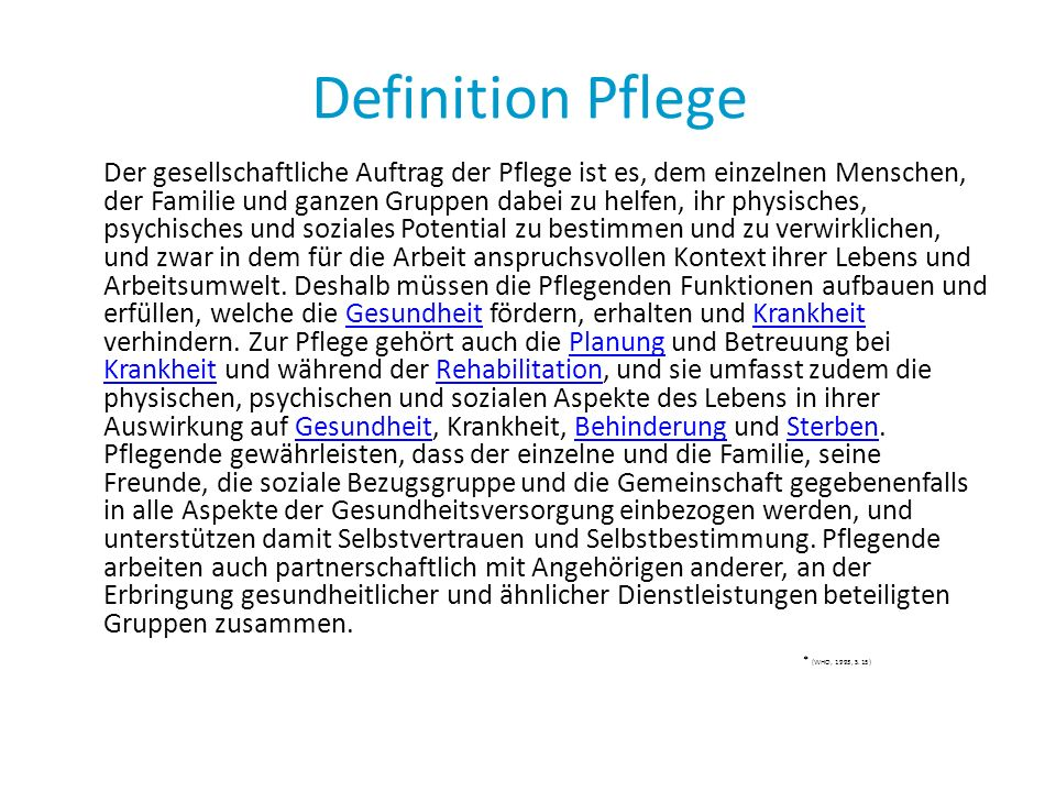 Definition Pflege