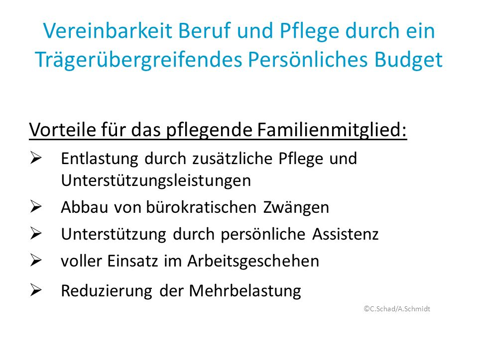Vereinbarkeit Beruf und Pflege durch ein Trägerübergreifendes Persönliches Budget