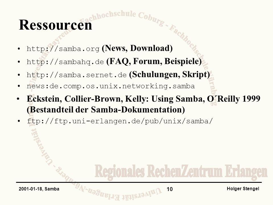 Ressourcen http://samba.org (News, Download) http://sambahq.de (FAQ, Forum, Beispiele) http://samba.sernet.de (Schulungen, Skript)
