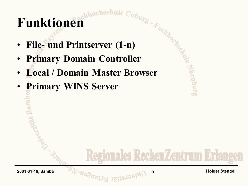 Funktionen File- und Printserver (1-n) Primary Domain Controller