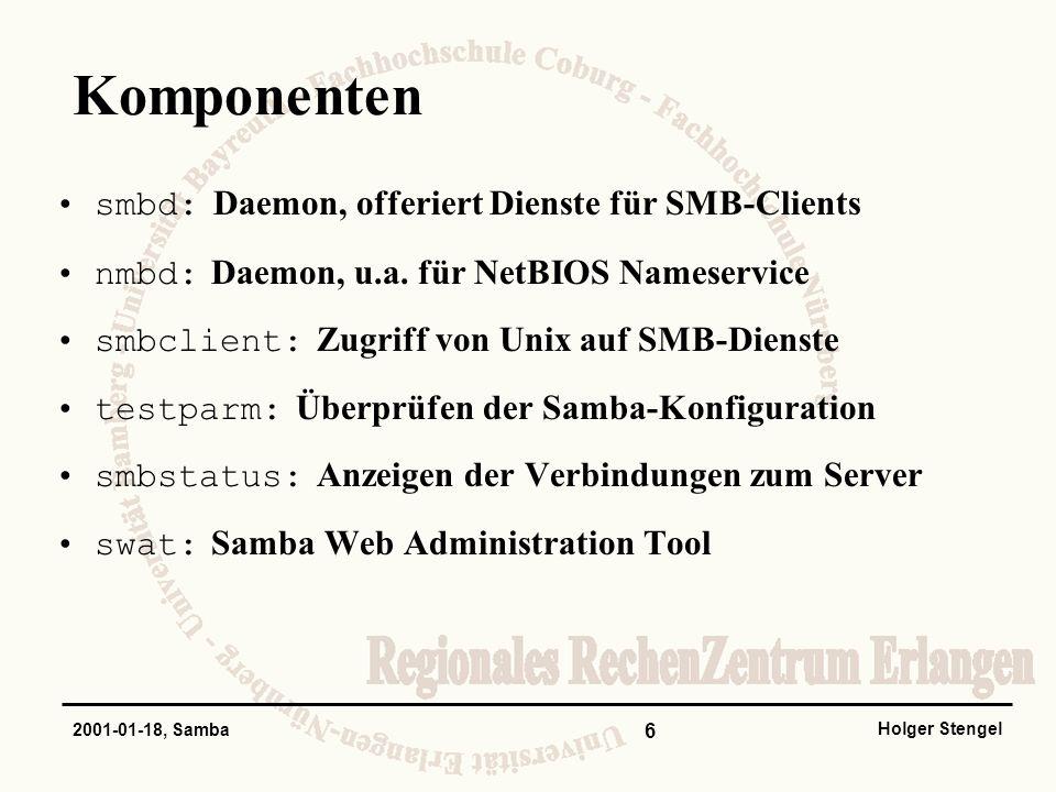 Komponenten smbd: Daemon, offeriert Dienste für SMB-Clients