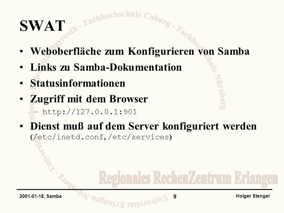 SWAT Weboberfläche zum Konfigurieren von Samba