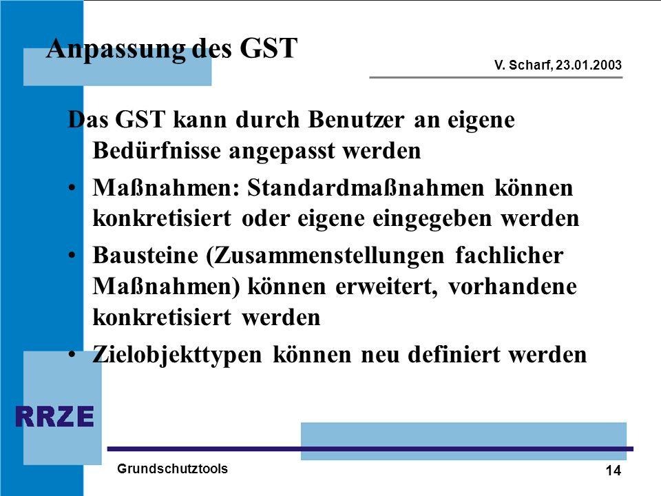 Anpassung des GST Das GST kann durch Benutzer an eigene Bedürfnisse angepasst werden.