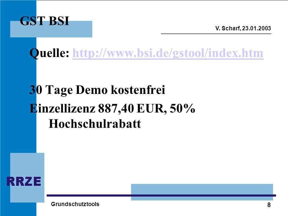 Quelle: http://www.bsi.de/gstool/index.htm 30 Tage Demo kostenfrei
