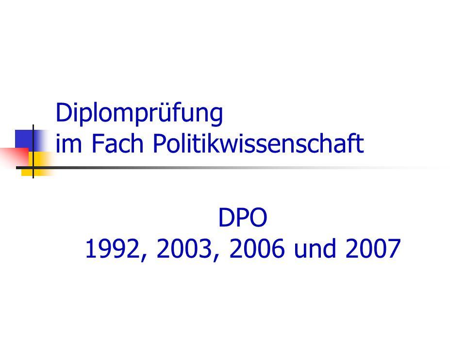 Diplomprüfung im Fach Politikwissenschaft