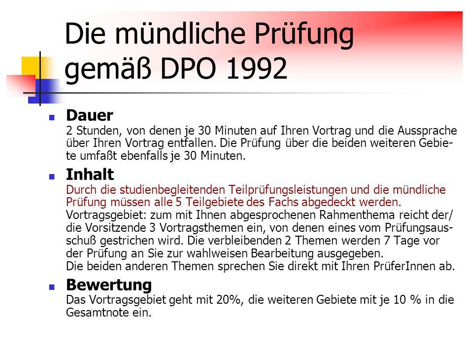 Die mündliche Prüfung gemäß DPO 1992