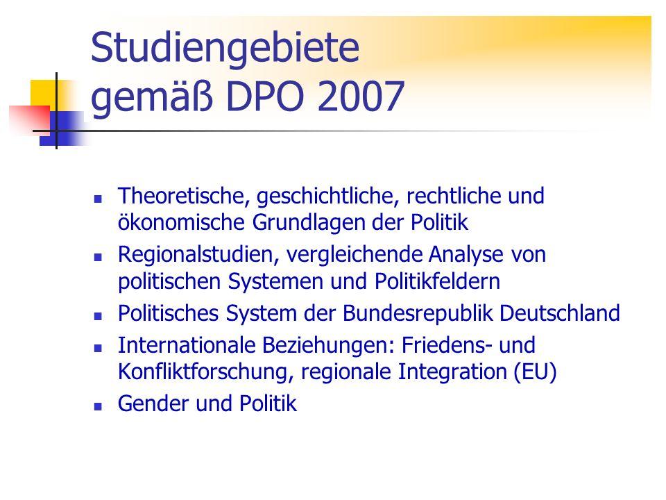 Studiengebiete gemäß DPO 2007