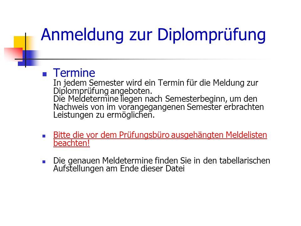 Anmeldung zur Diplomprüfung