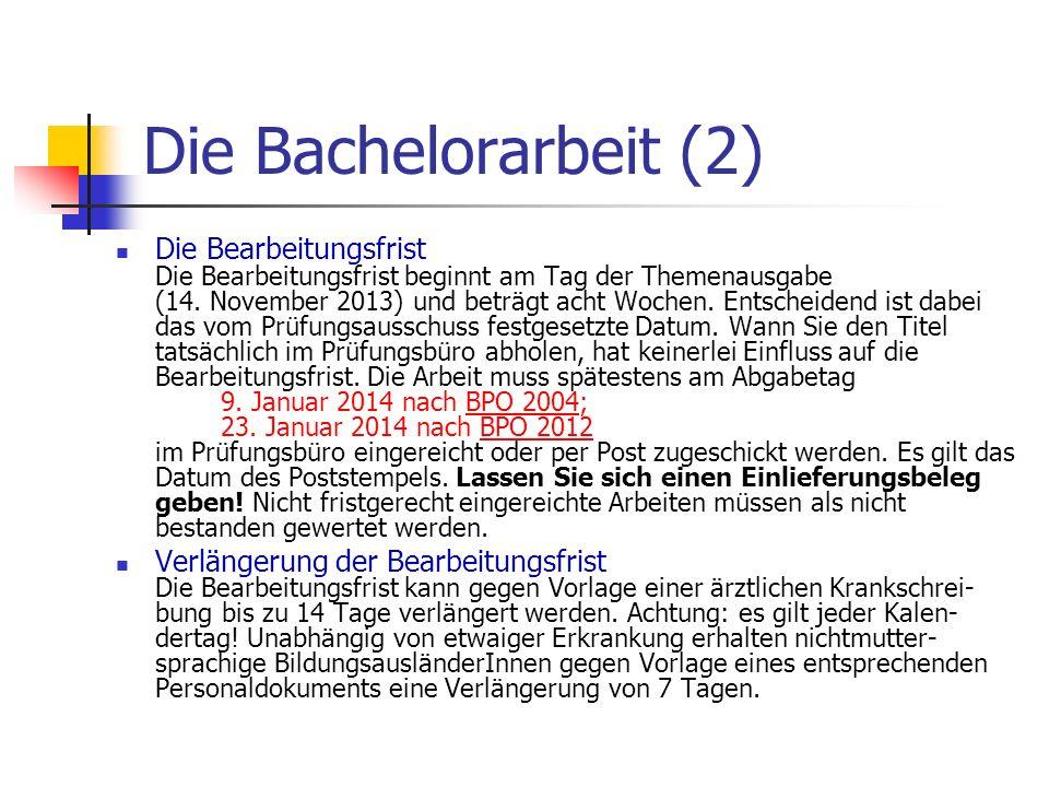 Die Bachelorarbeit (2)