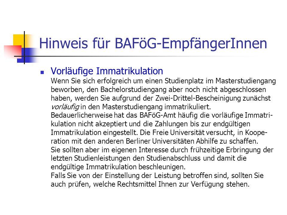 Hinweis für BAFöG-EmpfängerInnen