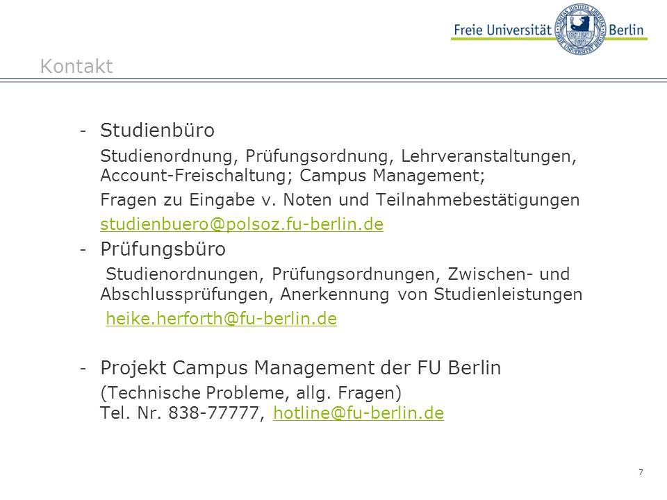 Projekt Campus Management der FU Berlin