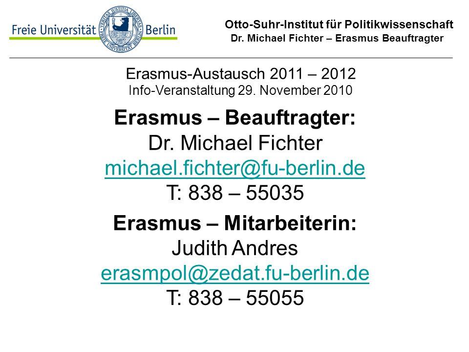 Erasmus-Austausch 2011 – 2012 Info-Veranstaltung 29. November 2010