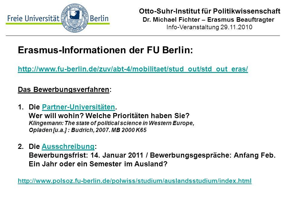 Erasmus-Informationen der FU Berlin: