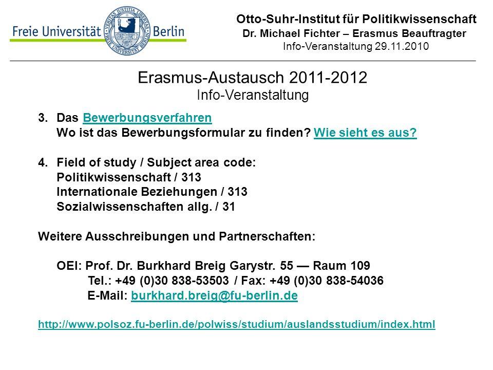 Erasmus-Austausch 2011-2012 Info-Veranstaltung