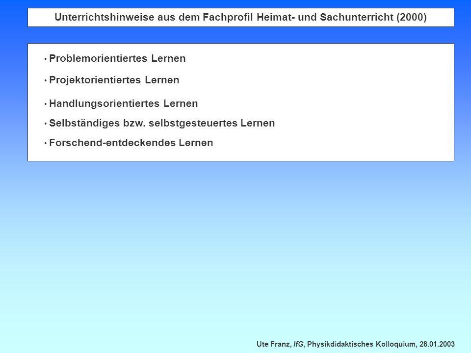 Unterrichtshinweise aus dem Fachprofil Heimat- und Sachunterricht (2000)