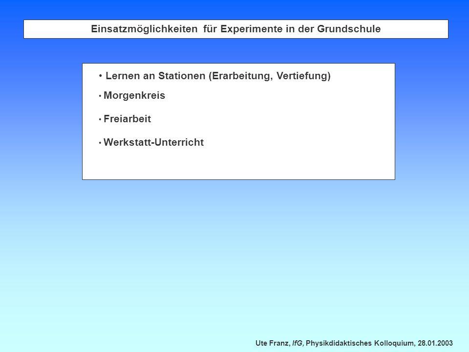 Einsatzmöglichkeiten für Experimente in der Grundschule