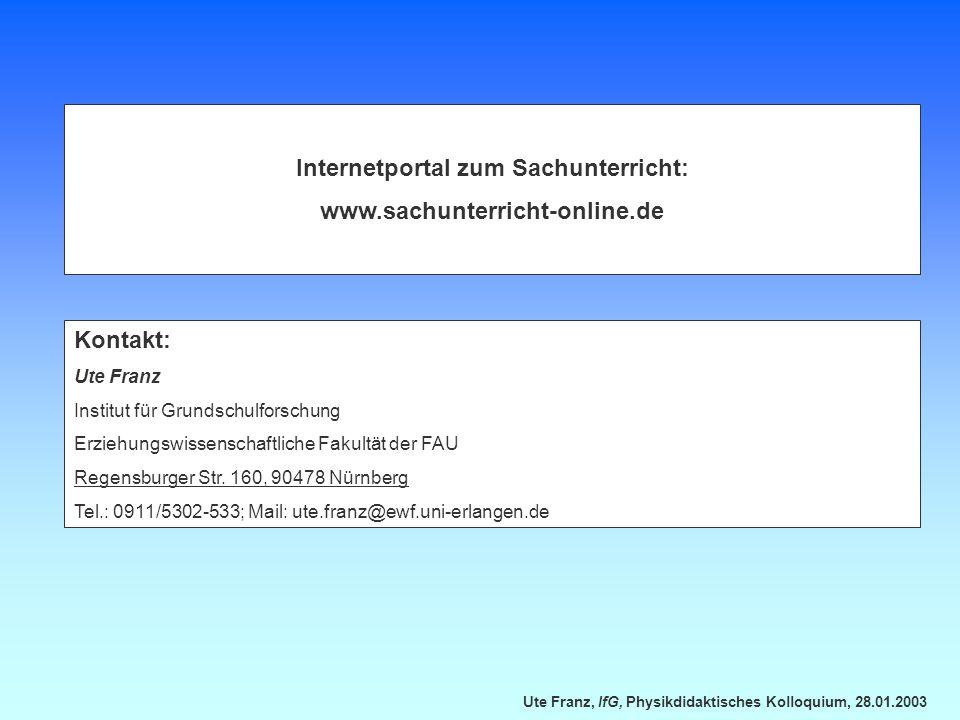 Internetportal zum Sachunterricht: