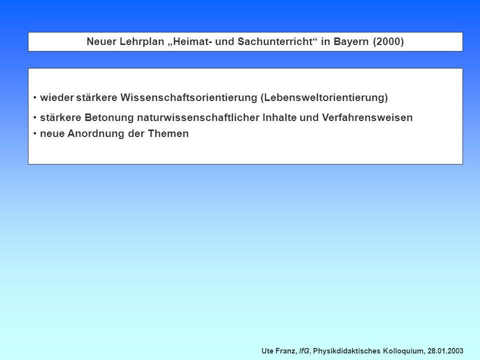 """Neuer Lehrplan """"Heimat- und Sachunterricht in Bayern (2000)"""