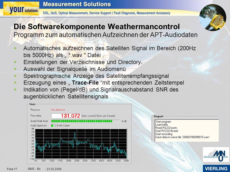 Die Softwarekomponente Weathermancontrol Programm zum automatischen Aufzeichnen der APT-Audiodaten