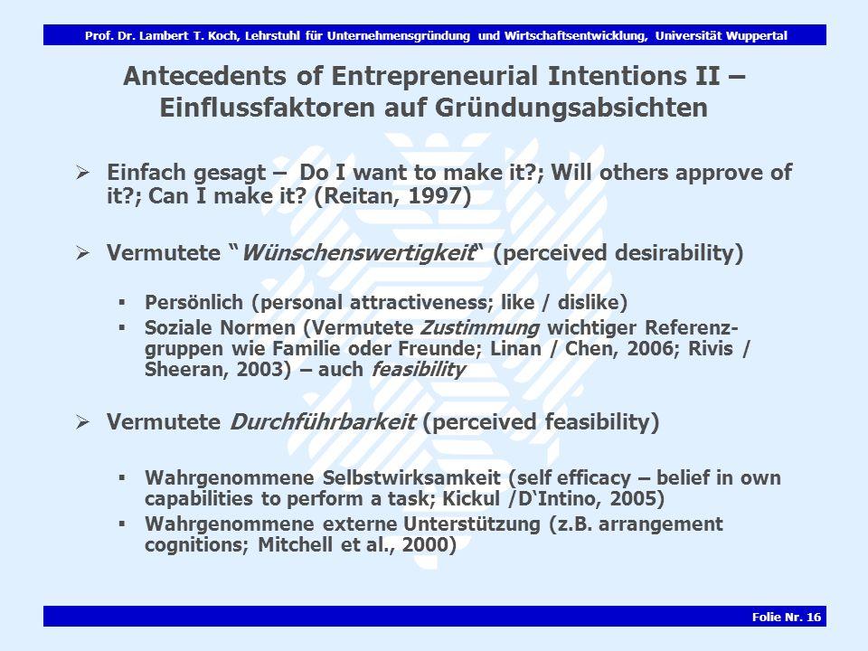 Antecedents of Entrepreneurial Intentions II – Einflussfaktoren auf Gründungsabsichten