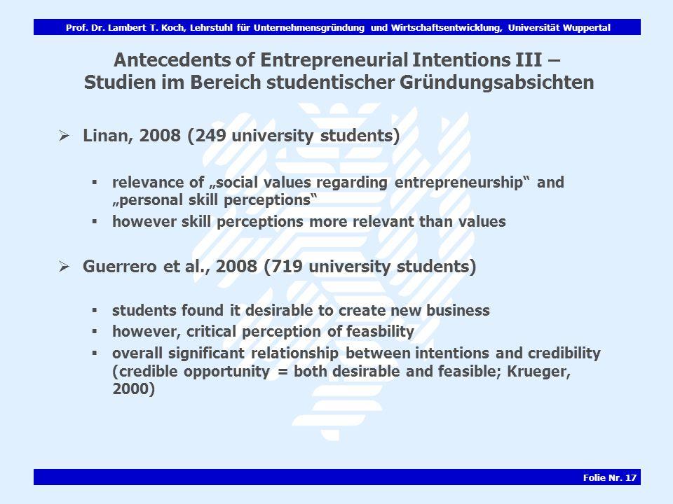 Antecedents of Entrepreneurial Intentions III – Studien im Bereich studentischer Gründungsabsichten