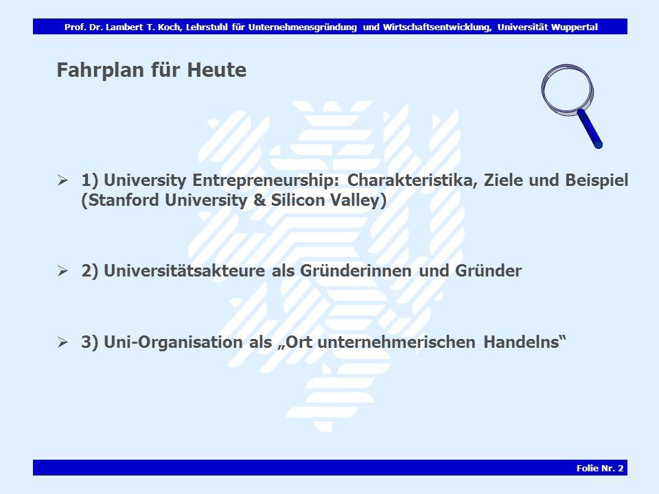 Fahrplan für Heute 1) University Entrepreneurship: Charakteristika, Ziele und Beispiel (Stanford University & Silicon Valley)