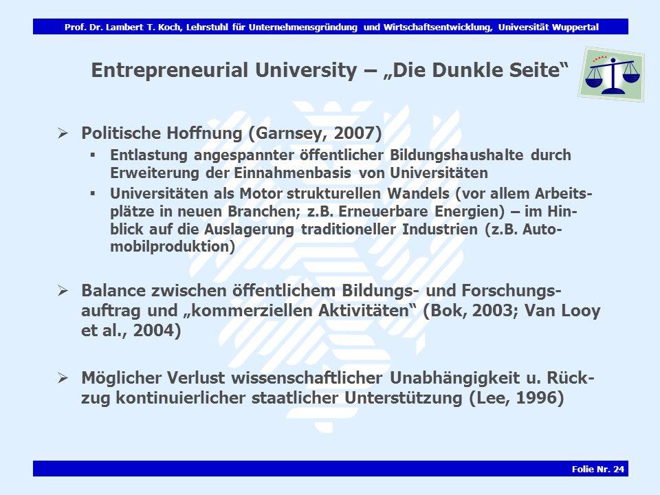"Entrepreneurial University – ""Die Dunkle Seite"