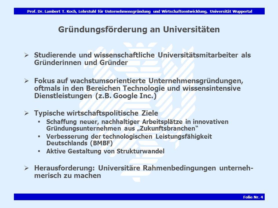 Gründungsförderung an Universitäten
