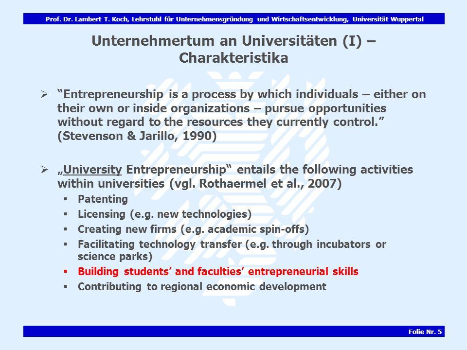 Unternehmertum an Universitäten (I) – Charakteristika