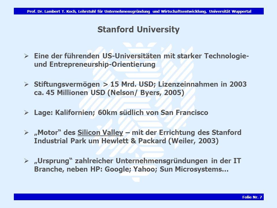 Stanford University Eine der führenden US-Universitäten mit starker Technologie- und Entrepreneurship-Orientierung.