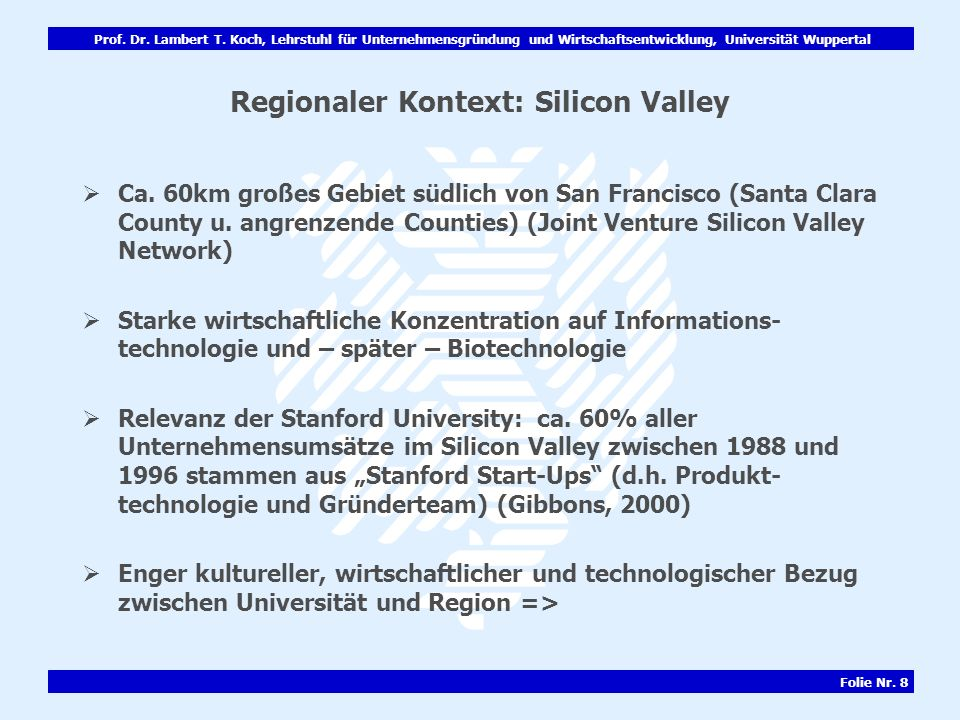 Regionaler Kontext: Silicon Valley