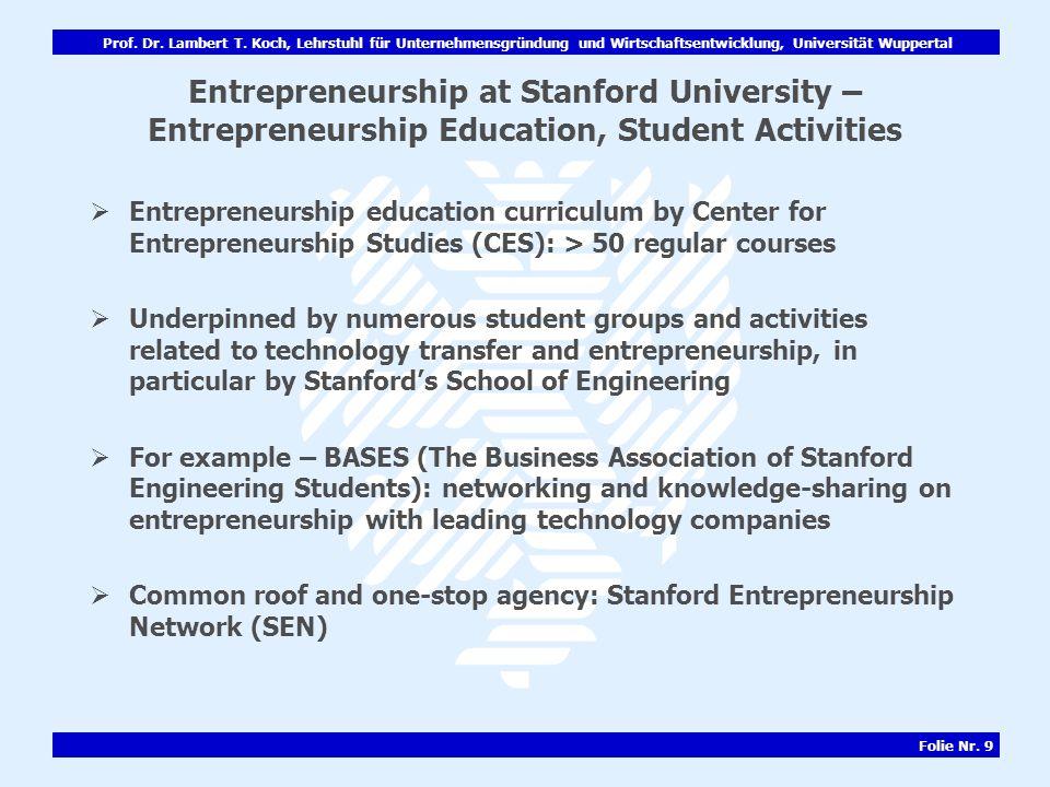 Entrepreneurship at Stanford University – Entrepreneurship Education, Student Activities